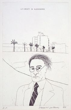 DAVID HOCKNEY'S PORTRAIT CAVAFY IN ALEXANDRIA. FROM ILLUSTRATIONS FOR FOURTEEN POEMS FROM C.P. CAVFY.