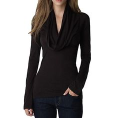 Women's Draped V Neck Long Sleeve Stretch Slim Top – USD $ 11.04