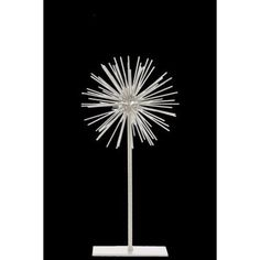 Small and Stylish Sea Urchin decor Sculpture on Stand - White - Benzara