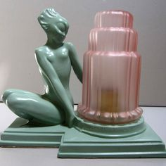 Frankart Fish Face Nymph Art Deco table lamp in green