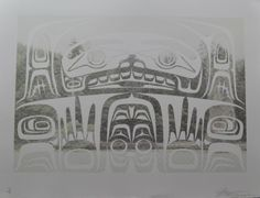 """Self-portrait Pillar Rock by John Bennett (Haida) Limited edition lithograph /11 - 32 3/4"""" x 22 3/4"""" Fazakas Gallery is a Vancouver Art Gallery with exciting works from Contemporary Artists from diverse backgrounds and cultures.  www.fazakasgallery.com"""