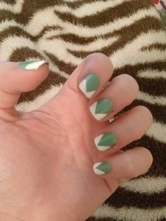 Green and white nail design