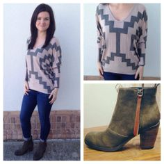 Love that the print on this new top really brings you in and gives a slimming look! Perfect to pair with our new CJ's and olive booties! Only $38! S, M, L available! Open until 6pm.