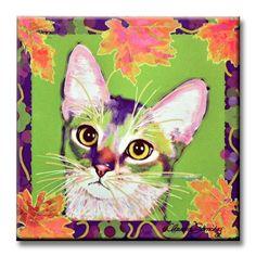 Kauhi Prince of Grapes Cat Art Decorative ceramic tile by Claudia Sanchez