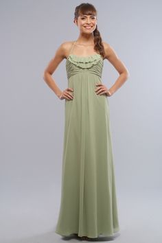 Halter chiffon dress with empire