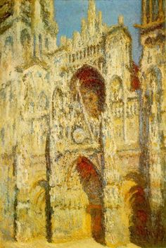Rouen Cathedral in Full Sunlight, Claude Monet. This is one of my favorite of Monet's depictions of the Rouen Cathedral Monet Paintings, Impressionist Paintings, Landscape Paintings, Claude Monet, Pierre Auguste Renoir, Artist Monet, Art Timeline, Rouen, Oil Painting Reproductions
