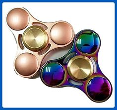 PREMIUM Titanium Alloy Tri Hand Fidget Spinner - 2 Sets (Rainbow & Rose Gold) GUARANTEE 6 Min Spin Time! Anti-Anxiety Helps Focus Stress Reducer - Perfect For ADD, ADHD, and Autism for Kids& Adults - Fidget spinner (*Amazon Partner-Link)