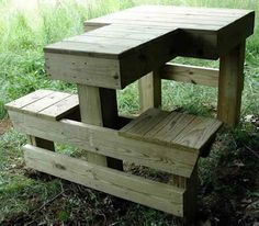 Shooting Bench Plans Here is a nice sturdy permanent shooting bench for those of you fortunate enough to have a private place to shoot, or perhaps for clubs looking for an economical bench f… Shooting Bench Plans, Shooting Table, Shooting Rest, Outdoor Projects, Pallet Projects, Outdoor Decor, Farm Projects, Pallet Ideas, Woodworking Bench
