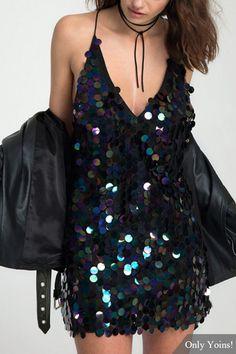 Sexy V-neck Backless Design Sequin Dress