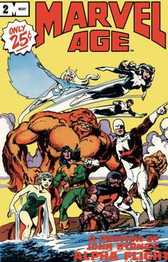 """This half-size/half-price comic book format magazine gives fans the lowdown on Marvel projects! Last month, Crystar (who remembers that?). This month, Alpha Flight! G'day, eh? The topic t'day is John Byrne's work on the title (how's it goin', eh?). It started out as these guys (especially """"Major Maple Leaf"""" (not his actual fighting name)) picking on Wolverine in """"X-Men"""" until Logan's buds told 'em to take off! The spinoff ran 1983-94, so g'day."""