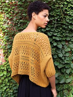 Knick Knack sweater by Norah Gaughan. This cropped oversized lacy pullover could be dressed up or down.  Knit in a sport 5ply weight yarn $6.00 USD download via Ravelry