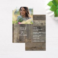 rustic western country barn wood photo business card - realtor real estate agent business diy personalize