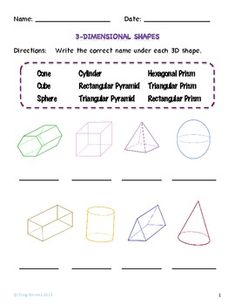 3-D Shapes and other \'free\' worksheets | teacher stuff: math and ...