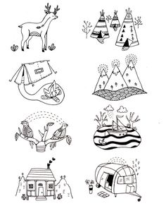 These next illustrations that I found under the tag of 'Earth Illustrations' I find very exciting and fun. In my interpretation I feel that these are illustration the journey and adventures of camping. I like the quirkiness and simplicity of these drawings. Though the lines of these illustrations are very harsh and intense, I still feel a sense of relaxation would have gone into these drawings from the simplicity and quietness of the lines. I also like the cleanliness of the line.