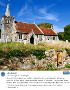 """benophiedaily: """"Benedict Cumberbatch and Sophie Hunter chose the 12th century Mottistone Church of St Peter and St Paul for their St. Valentine's Day Wedding 2015 [x] """""""