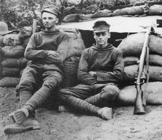 The ANZACs in this photo are brothers Harold (left) and Arthur Bartleet. The photo was taken outside of their dugout on Gallipoli on Arthur's 21st Birthday on the 20th of November 1915. Both brothers survived the war.