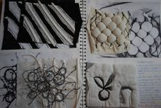 'Surface and Texture' sketchbook textile samples. This image is discussed in our eCourse 'Sketchbook development' helping you into art college. www.portfolio-oomph.com