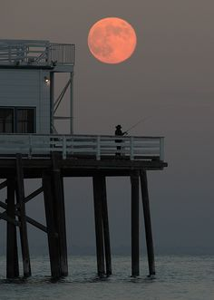 Matthew Pacheco captured this shot of a full moon over Malibu Pier in August.