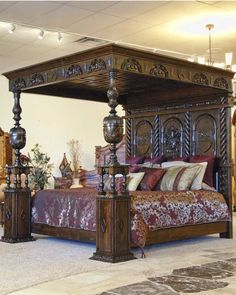 Four Post King Size Bedroom Set. Four Post King Size Bedroom Set. Romantic Four Post Canopy Bed From Ralph Lauren Home Gothic Furniture, Unique Furniture, Vintage Furniture, Furniture Decor, Furniture Design, Furniture Movers, Bedroom Furniture, Medieval Furniture, Inexpensive Furniture