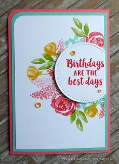 Today I am sharing a pretty, feminine, floral card made using the gorgeous Beautiful Friendship stamp set and the brights collection of coours. Homemade Birthday Cards, Happy Birthday Cards, Homemade Cards, Penny Black, Stamping Up Cards, Rubber Stamping, Friendship Cards, Card Sketches, Cool Cards