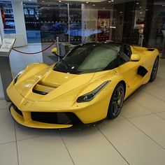 Ferrari Laferrari painted in Bright Yellow Photo taken by: @Shmee150 on Instagram