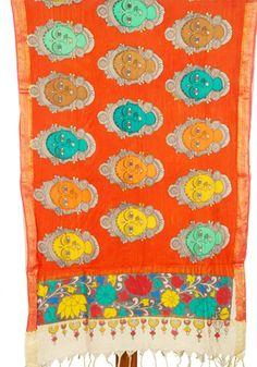 Handpainted Kalamkari Dupatta – Desically Ethnic