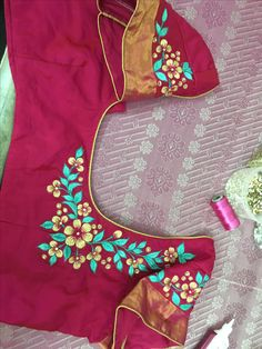 One of my own designs Best Blouse Designs, Saree Blouse Neck Designs, Simple Blouse Designs, Dress Neck Designs, Bridal Blouse Designs, Embroidery Works, Embroidery Suits, Pink Saree Blouse, Latest Embroidery Designs