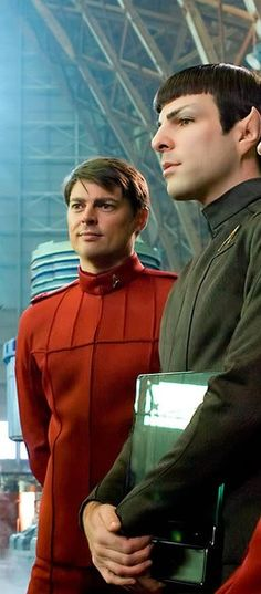Dr. McCoy and Spock. I love these two characters so much. <3 they r my fave characters!