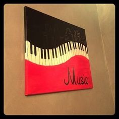 "Hand painted canvas ""Music"" city skyline Piano keys with a black skyline and a red base. ""Music"" in script on bottom. Other painting Painted Wood Walls, Hand Painted Canvas, Diy Canvas, Canvas Art, Painting On Black Canvas, Paintings On Canvas Easy, Diy Artwork, Music Artwork, Music Painting"