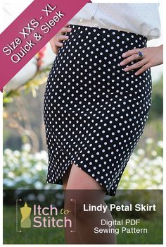 Lindy Petal Skirt is a simple knit pencil skirt with an elastic waistband. It features two overlapping curved front panels that resemble two petals. It is figure-hugging and showcases your curves. Lindy Petal Skirt is a quick sew; even starting as a late night project, you will finish in time to wear to the office the next day!