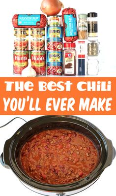 Best Chili Recipe Easy Homemade Dinner!  Move over meatless Monday… it's time for a cozy bowl of the best chili ever!  If you're looking for the next winner of your chili cook-off, this Easy Crockpot Chili Recipe is IT!!  Plus... it's SO easy to make!  Go grab the recipe and give it a try this week! Delicious Crockpot Recipes, Chili Recipes, Soup Recipes, Crockpot Meals, Tortellini Recipes, Cheese Tortellini, Crockpot Dishes, Chicken Recipes, Recipies