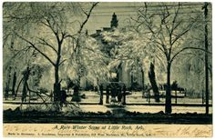 """The Old State House after a snow and ice storm. The branches are so thick with ice that it's difficult to see the building. The postmark says Aug., 1906, so the date would have to be 1905 or before. It was sent to Alvin E. Bell in Sheboygen, Wis. The message on the front says, """"We are not having this kind of weather at the present time."""" Arkansas History Commission G4221"""