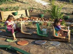 All aboard the outdoor bus/train/plane! DIY Recycled Outdoor toys made from plastic chairs - via Mummy Musings and Mayhem I love this outdoor play space! Backyard Play Spaces, Outdoor Learning Spaces, Kids Outdoor Play, Outdoor Play Areas, Backyard Playground, Backyard For Kids, Outdoor Fun, Kids Play Area, Playground Ideas