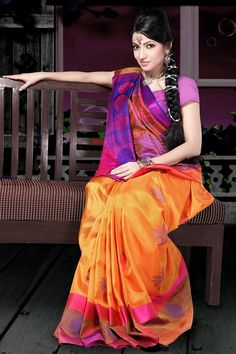 The colour of new beginnings Saree Draping Styles, Desi Wear, Soft Silk Sarees, Saree Collection, Saris, Indian Sarees, Indian Outfits, Bananas, Goddesses