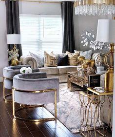 small modern luxury living room design ideas - Internal Home Design Glam Living Room, Living Room Decor Cozy, Elegant Living Room, Living Room Interior, Modern Living, Gold Living Rooms, Contemporary Living Room Decor Ideas, Interior Livingroom, Decor Room