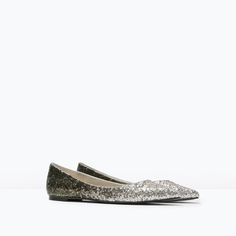 Image 2 of GLITTER POINTED BALLET FLATS from Zara