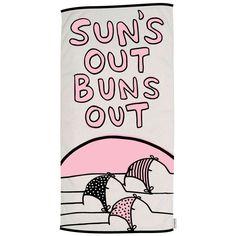 SUN'S OUT BUNS OUT Woven Beach Towel - Calhoun & Co. - $74.00 - domino.com