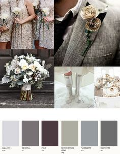Love the look of the dresses & suit in this... Stunning silver color theme inspiration for winter weddings. #bowsnties
