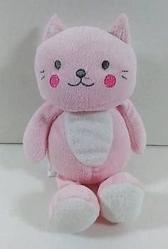 "Carters Child Of Mine Pink Cat Kitten Baby Rattle 8"" Plush Toy #6209 B243"