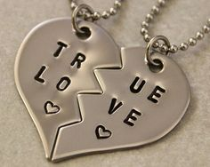 True Love Couples Necklaces - Couples Jewelry - Girlfriend Boyfriend Gift - Hand Stamped His and Her Necklaces - Stainless Steel $25.00