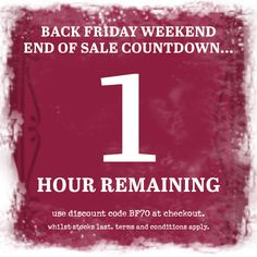 ***1 hour remaining*** Black Friday Weekend Sale. 70% off our full price range. This weekend only!!! Use discount code BF70 at the checkout. #blackfriday #sale #onebutton #jewellery #scarves #accessories