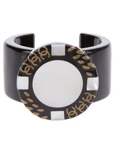 View this item and discover similar for sale at - Black plastic cuff bracelet from Chanel featuring a circle front with grey circle and a brand logo detail. Chanel Bracelet, Chanel Jewelry, Cuff Bracelets, Fashion Jewelry, Bangles, Mademoiselle Coco Chanel, Cheap Designer Bags, Women Accessories, Jewelry Accessories