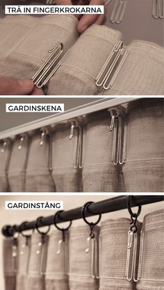 With curtain hooks attached to the back of your curtains you get even for . Pinch Pleat Curtains, Pleated Curtains, Home Curtains, Linen Curtains, Curtains Hooks, Ceiling Curtains, Drapery, Curtain Styles, Curtain Designs