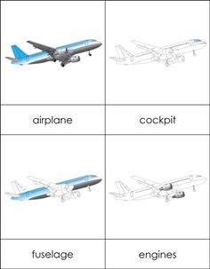 Parts of an Airplane Nomenclature Cards-Stunning drawings help children learn all the parts of an airplane! Interested in all the transportation cards Formation Montessori, Montessori Science, Montessori Classroom, Primary Classroom, Classroom Themes, Preschool Lessons, Teaching Activities, Language Activities, Toddler Preschool