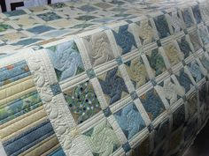 Love the colors and quilting on this quilt. Quilted by Jessica's Quilting Studio Colorful Quilts, Blue Quilts, Scrappy Quilts, Quilt Boarders, Quilt Blocks, Machine Quilting Designs, Quilting Ideas, Quilting Projects, Pinwheel Quilt