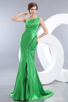 dbb3af5824 Spring Green One Shoulder Mermaid Evening Dress Patterns with Ruching Cream  Prom Dresses