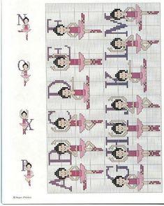 Alfabeto de balletistas para punto de cruz .|¡Disfrutando en mi hogar!