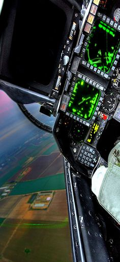 Fighter jet cockpit view as seen from pilot.                                                                                                                                                                                 More