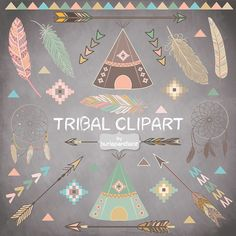 Your place to buy and sell all things handmade Chalkboard Clipart, Chalkboard Art, Indian Birthday Parties, Teepee Tent, Teepees, Tribal Art, Tribal Theme, Colour Pallete, Girl Nursery