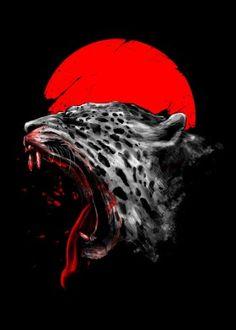 jaguar animal unique illustration blood shed death kill sun roar angry digital art